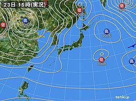 実況天気図(2018年12月23日)