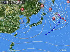 実況天気図(2018年12月24日)
