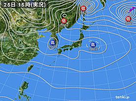 実況天気図(2018年12月25日)