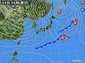 実況天気図(2018年12月27日)