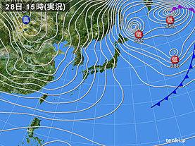 実況天気図(2018年12月28日)