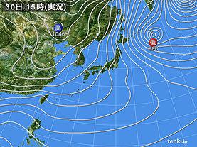 実況天気図(2018年12月30日)