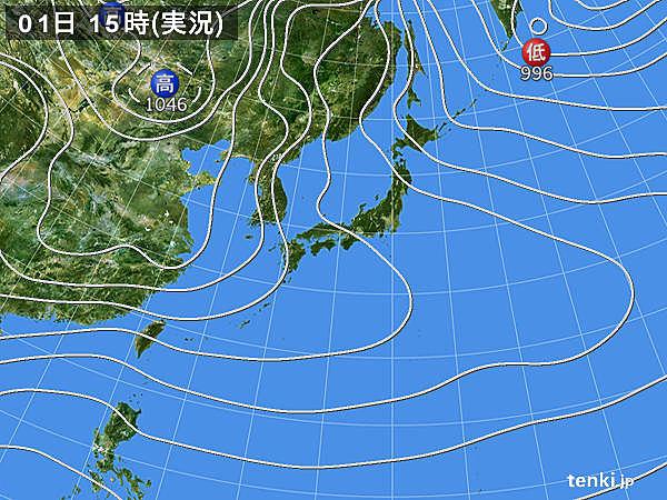 実況天気図(2019年01月01日)