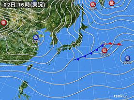 実況天気図(2019年01月02日)