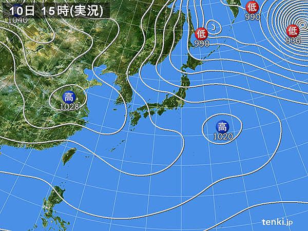 実況天気図(2019年01月10日)
