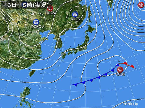 実況天気図(2019年01月13日)