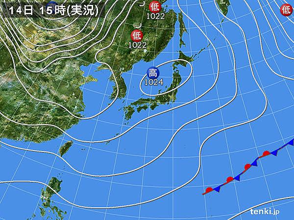 実況天気図(2019年01月14日)