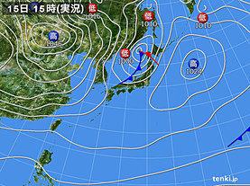 実況天気図(2019年01月15日)
