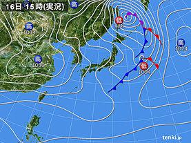 実況天気図(2019年01月16日)