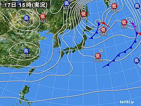 実況天気図(2019年01月17日)