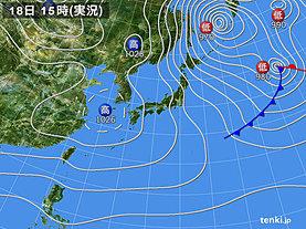 実況天気図(2019年01月18日)