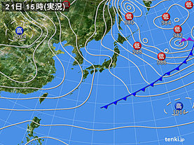 実況天気図(2019年01月21日)