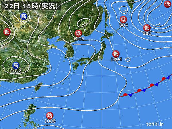実況天気図(2019年01月22日)