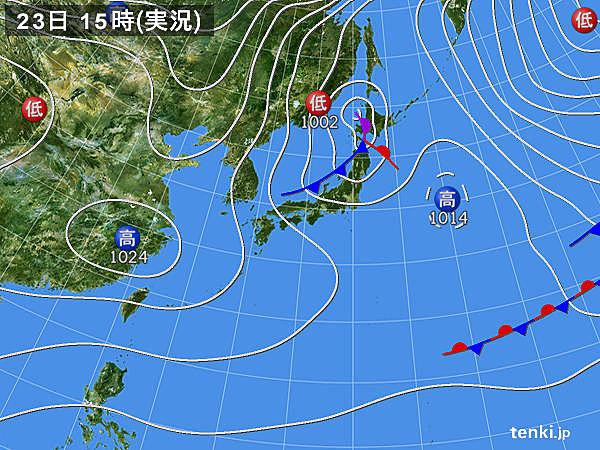 実況天気図(2019年01月23日)