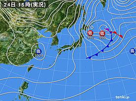 実況天気図(2019年01月24日)