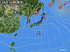 実況天気図(2019年01月28日)