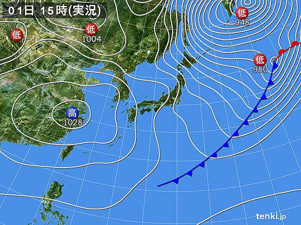 実況天気図(2019年02月01日)