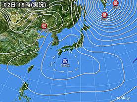 実況天気図(2019年02月02日)