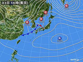 実況天気図(2019年02月03日)