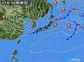 実況天気図(2019年02月07日)