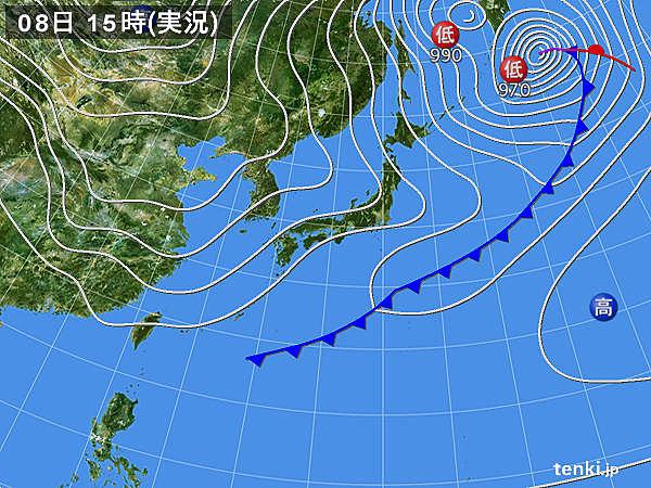 実況天気図(2019年02月08日)