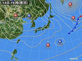 実況天気図(2019年02月14日)