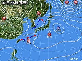 実況天気図(2019年02月15日)