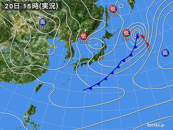 実況天気図(2019年02月20日)