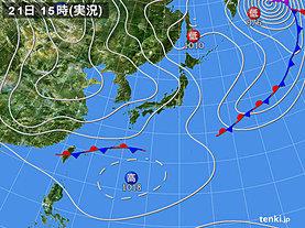 実況天気図(2019年02月21日)