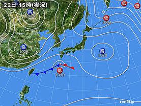 実況天気図(2019年02月22日)