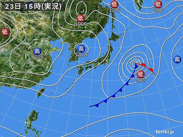 実況天気図(2019年02月23日)