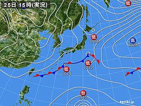 実況天気図(2019年02月25日)