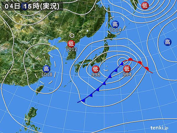 実況天気図(2019年03月04日)