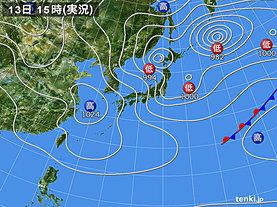 実況天気図(2019年03月13日)