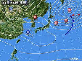 実況天気図(2019年03月14日)