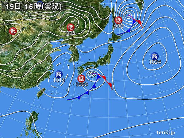 実況天気図(2019年03月19日)