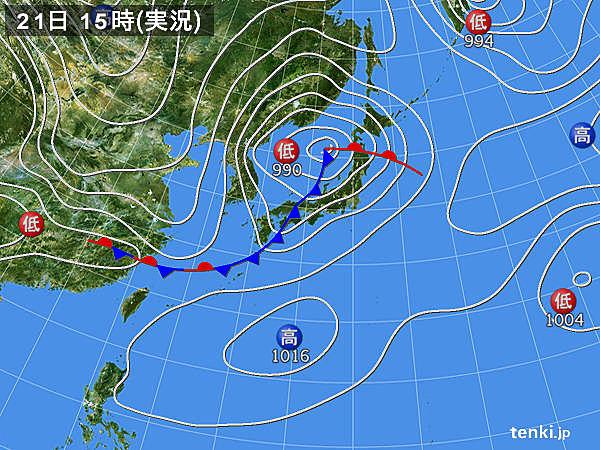実況天気図(2019年03月21日)