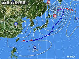 実況天気図(2019年03月22日)