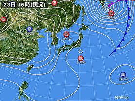 実況天気図(2019年03月23日)