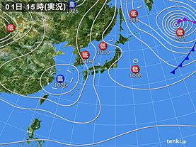 実況天気図(2019年04月01日)