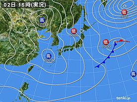 実況天気図(2019年04月02日)