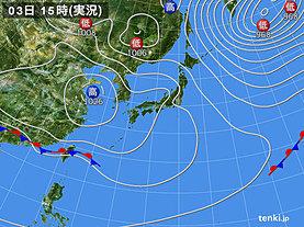 実況天気図(2019年04月03日)