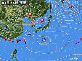 実況天気図(2019年04月04日)