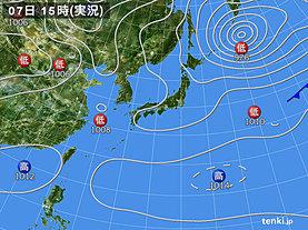 実況天気図(2019年04月07日)