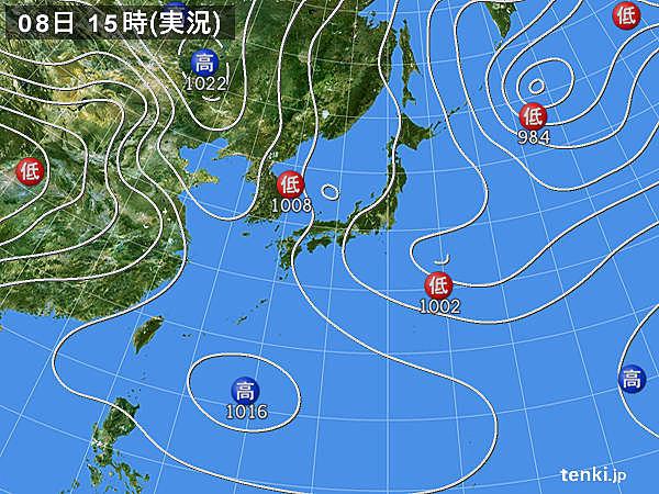 実況天気図(2019年04月08日)