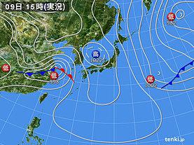 実況天気図(2019年04月09日)