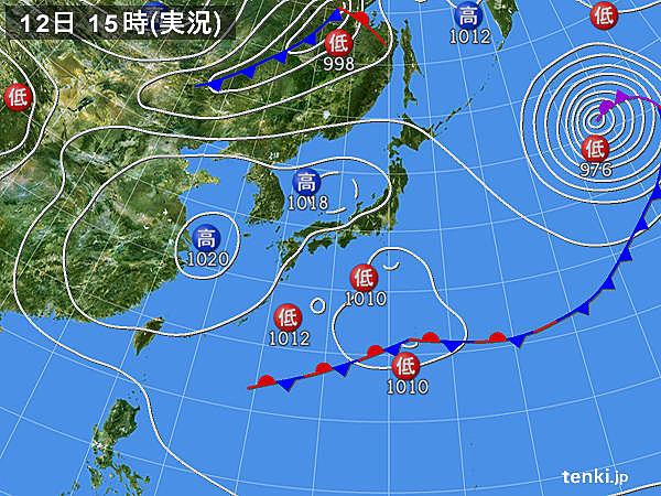 実況天気図(2019年04月12日)