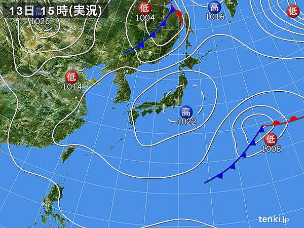 実況天気図(2019年04月13日)
