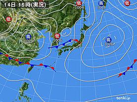 実況天気図(2019年04月14日)