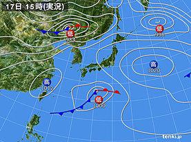 実況天気図(2019年04月17日)